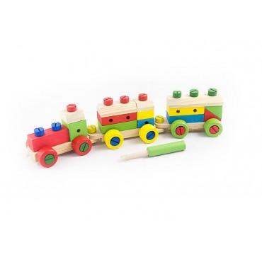 Rozkręcany drewniany pociąg