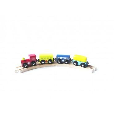 Drewniany pociąg kolejka wagoniki na magnesy