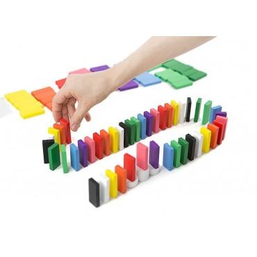 Drewniane klocki domino 100 sztuk układanka gra