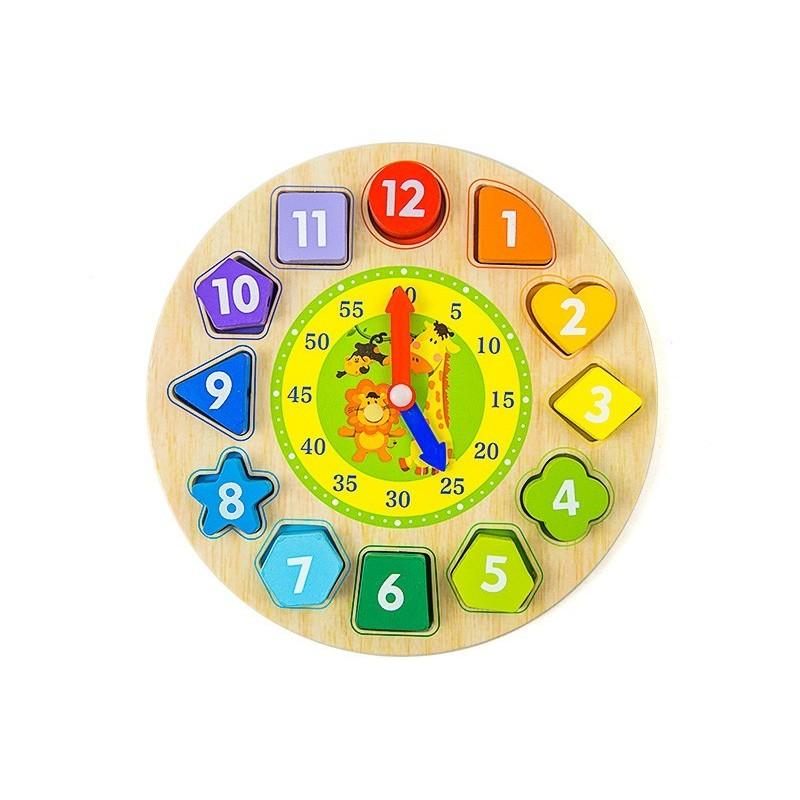 Drewniny zegar sorter nauka angielskiego