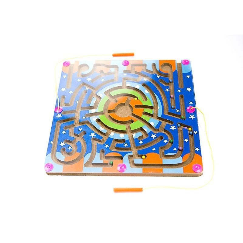 Drewniany labirynt magnetyczny + gra zręcznościowa Halma
