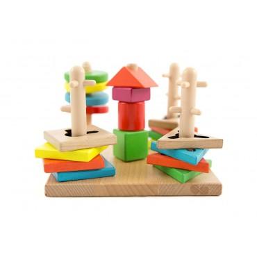 Drewniany sorter kształtów układanka logiczno zręcznościowa Lilupi