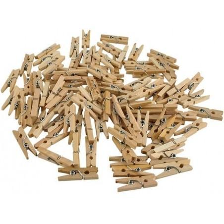 Klamerki drewniane mini - zestaw 100szt.