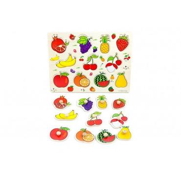 Drewniane puzzle z uchwytami owoce 30x23 cm
