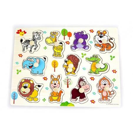 Drewniane puzzle z uchwytami zwierzęta 30x23 cm