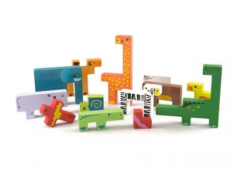 Tetris zwierzęta klocki drewniane gra logiczna