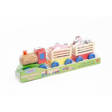 Pociąg drewniany do transportu zwierząt