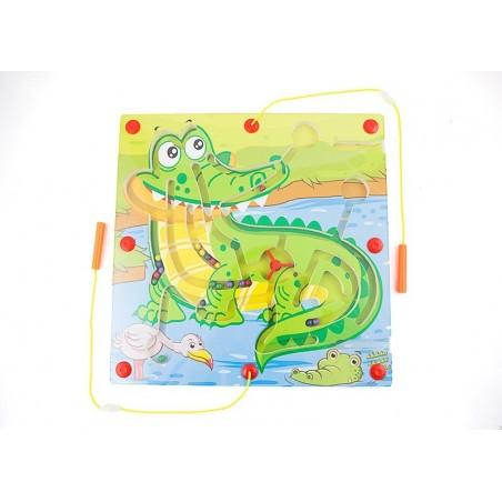 Drewniany labirynt magnetyczny krokodyl