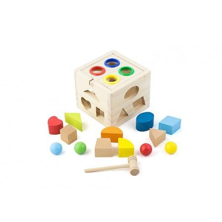 Drewniany sorter kostka edukacyjna wbijanka + klocki