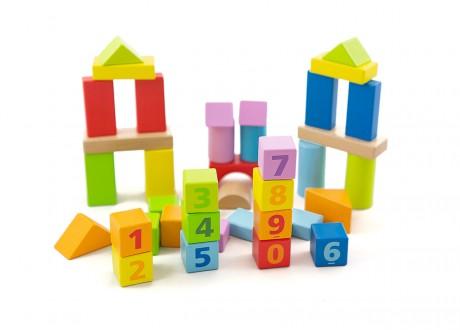 Klocki drewniane w kuwecie edukacyjne zestaw 38 elementów