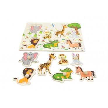 Drewniane puzzle z uchwytami zwierzęta 30x23 cm nr2