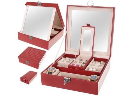 Kuferek na biżuterię - bordowy  Beautylushh