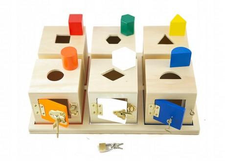 Zestaw pudełka montessori sorter zamykany na zamki