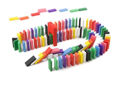 Klocki drewniane domino 200 elem układanka gra