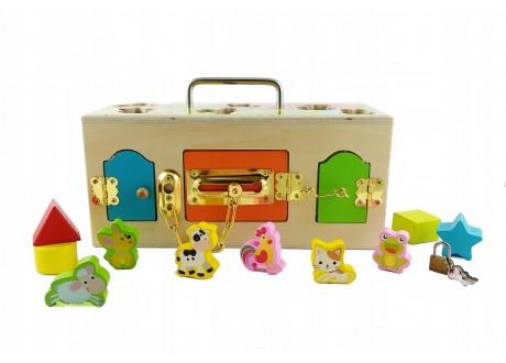 Skrzynka Montessori z zamkami sorter i klocki