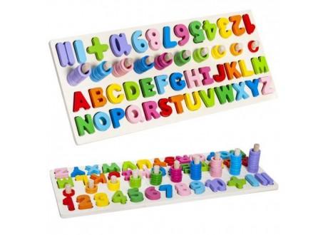 Układanka drewniana alfabet i cyfry